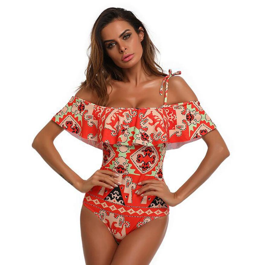 Womens one piece swimsuit sexy off shoulder monokini swimwear bathing suit push up padded beachwear bandeau maillot de bain new