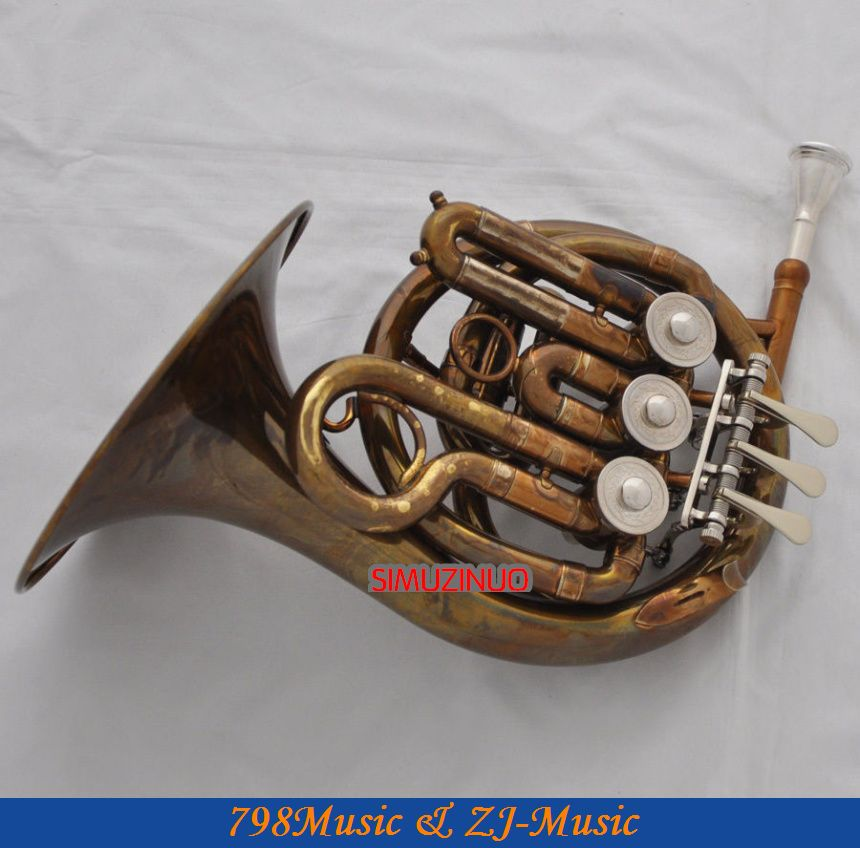 New Antique Mini French Horn Bb Pocket horn With Case  one horn double row 4 key single french horn fb key french horn with case surface gold lacquer professional musical instrument