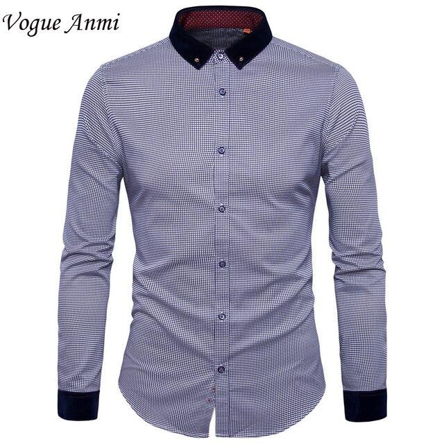 80d85505bf8 Vogue Anmi Новый Для мужчин Мужская рубашка с длинным рукавом Повседневное  мужские брендовые рубашки Slim Fit