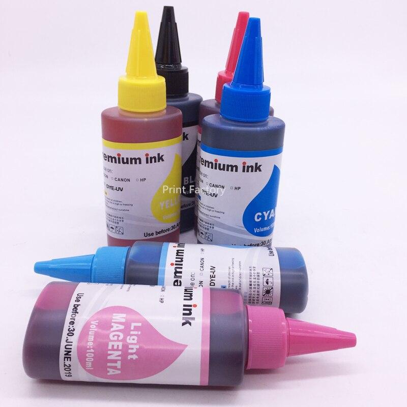 6 Bottles T0811N-T0816N Dye Based Ink For Epson TX700 TX800 T50 TX710W TX650 TX810FW TX820FWD RX615 R270 R290 Artisan 1430 837