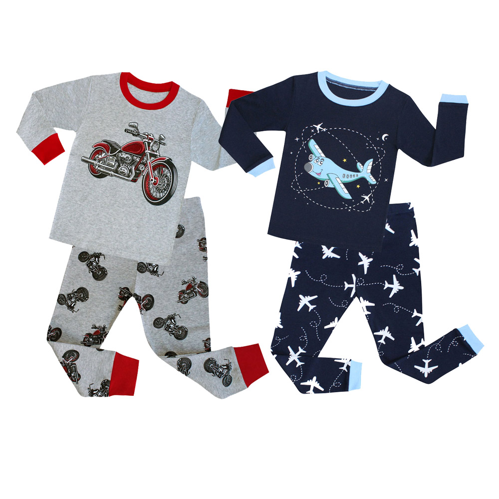100 Cotton Full Sleeve Cotton Boys Sleepwear Kids Airplane Pyjamas Children Baby Girls Pajamas Pijama Unicornio Infantil PJS