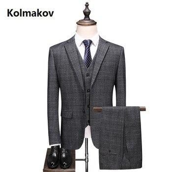 (Jacket+Vest+Pants) Men Suits Fashion Casual stripe Men's Slim Fit business wedding Suit men high quality Groomsman dress