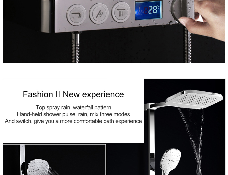 hm Installed Square shower Set Intelligent Digital Temperature Shower Brass Rain Faucet Smart Digital Display Wall Waterfall  (3)
