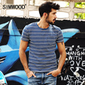 SIMWOOD Brand New Mens T shirt Summer Short sleeve O-neck Slim Fit Striped Casual Men T-shirts Tops Tee Free Shipping TD1086