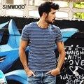 SIMWOOD Nueva Marca Para Hombre camiseta Del Verano de manga Corta Del O-cuello Slim Fit A Rayas Ocasionales de Los Hombres Camisetas Tops Tee Envío Gratis TD1086