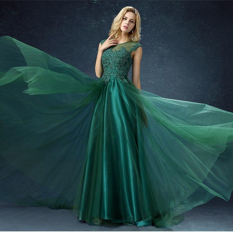 2019 nouveau Long Sweat dame dentelle robe pour Weddig parti vert fille femmes princesse Banquet bal de soirée robes longues Maxi robes