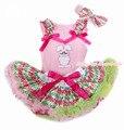 Pink pascua superior del bebé con arco iris de onda & Hot Pink con conejo de conejito y arco iris de onda recién nacido Pettiskirt con la venda MABG141