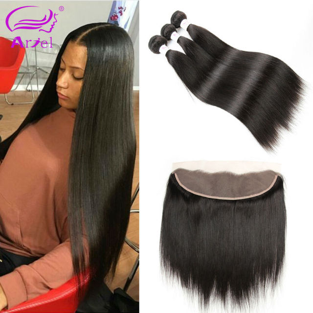 Mink Malaysian Straight Hair With Frontal Closure Weaves Human Hair With Frontal Closures Malaysian Virgin Hair With Closure
