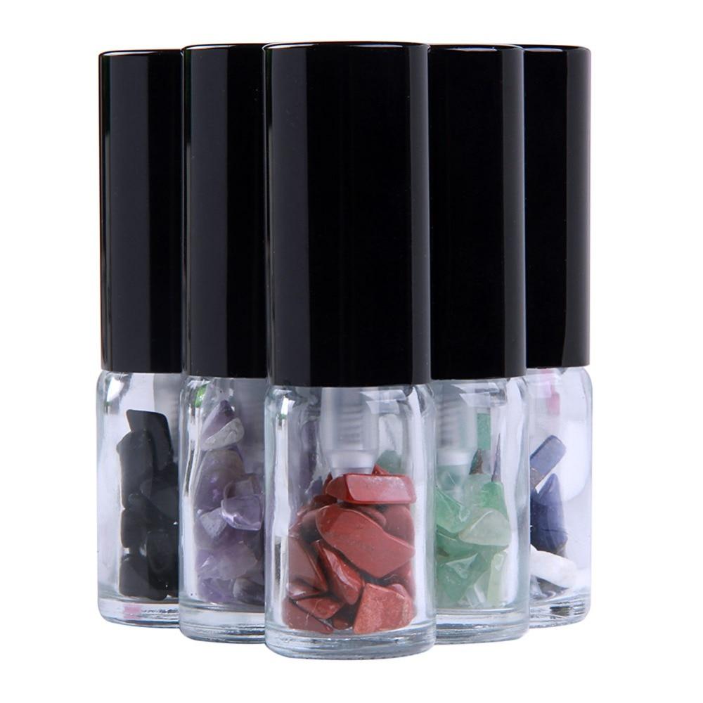 Yaye Natural Chips de piedras preciosas 10 ml viaje portátil recargable Perfume atomizador botellas de vidrio transparente Spray caso 6 piezas
