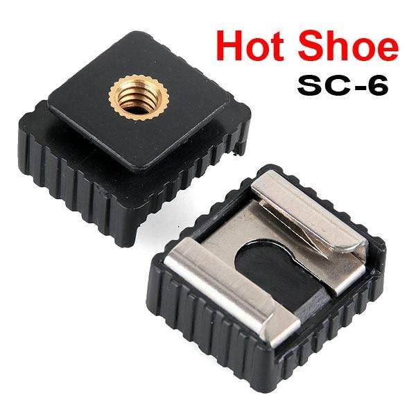 1pcs SC-6 SC6 Cold Hot Shoe Adapter Standard Mount Hotshoe to 1/4 Thread For Flash Speedlite Tripod Photo Studio Accessories