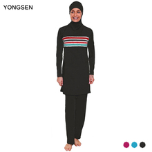 YONGSEN Plus Size Burkinis Muslim Swimwear Women Modest Patchwork Full Cover Swimsuit Islamic Hijab Islam Wear Bathing Suit