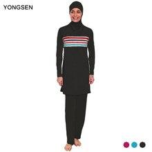 YONGSEN Plus Size Muslim Swimwear Women Modest Patchwork Full Cover Swimsuit Islamic Hijab Islam Burkinis Wear Bathing Suit