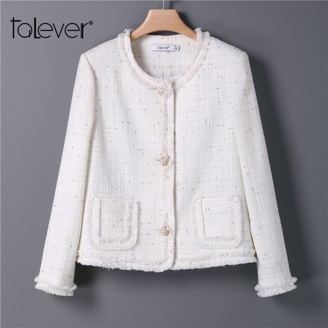 Women Slim Warm Tweed Jackets  Office Lady Elegant Singer Button Jacket Blazer Autumn Female Coat Plus Size Outwear Talever