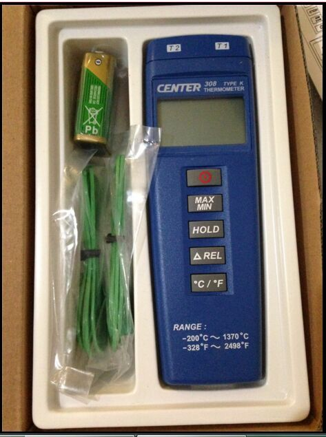CENTER 308 Digital Economical Thermometer (Compact Size/Low Cost/Dual Input) center 307 digital compact low cost thermometer