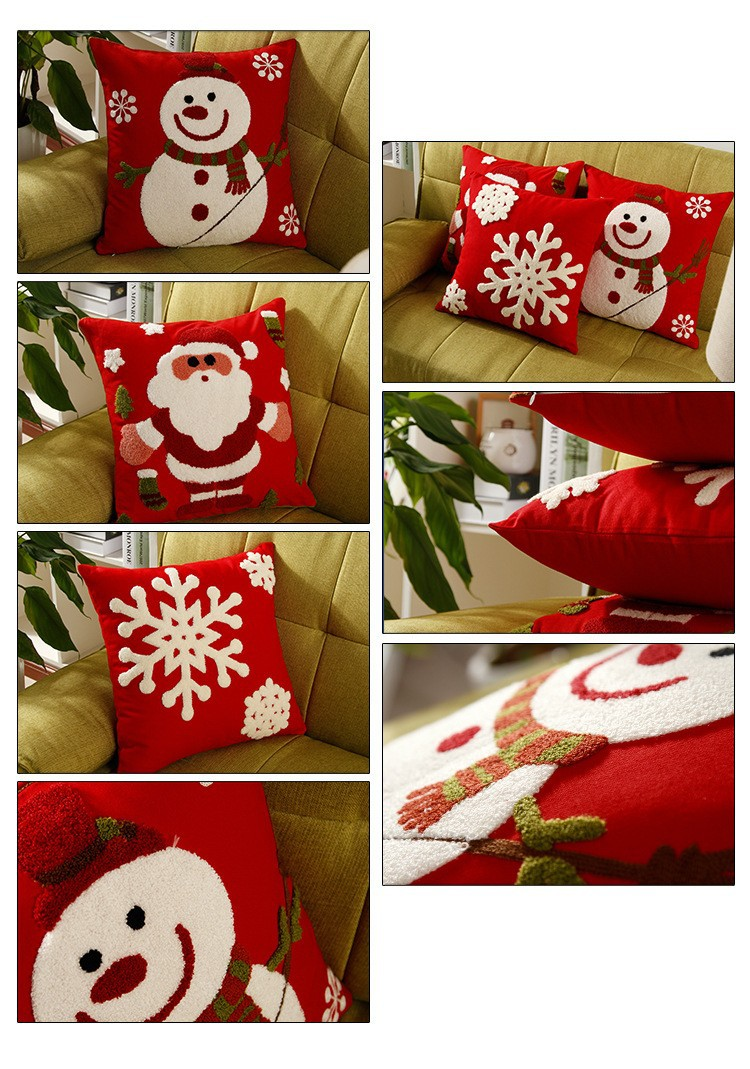 Embroidered Santa Claus Snowman Snowflakes Cushion Covers Merry
