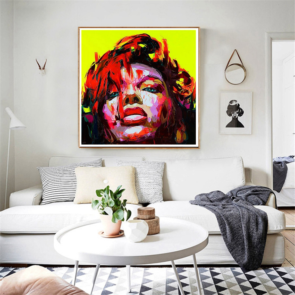 Handmade African Woman Wall Art Canvas Painting Portrait Face Abstract Artwork for Living Room Wall Decor Office Home Decoration