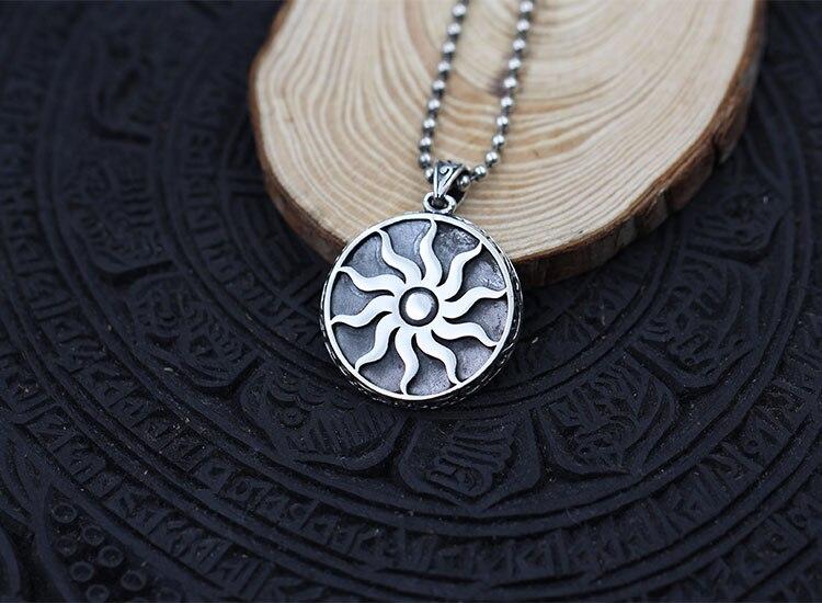 Colgante de plata de ley 925 Vintage con círculo solar - 4