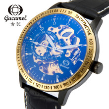 GUCAMEL New Fashion Business Mens Wristwatch Automatic Mechanical Watches Male Waterproof Gemuine Leather Hollow Watch Masculino