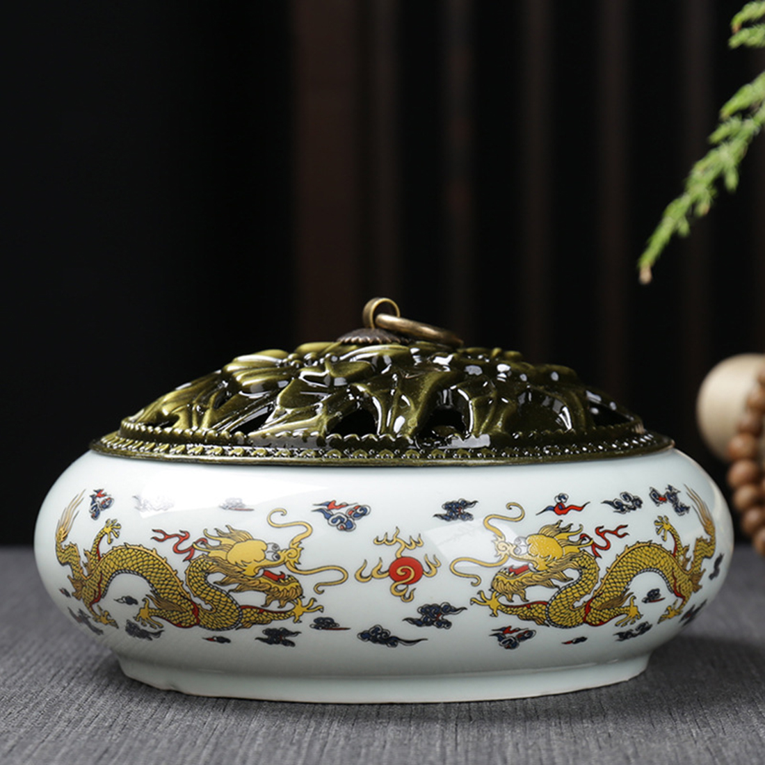 Ceramic Backflow Incense Burner Censer Chinese Style Incense Coil Incense Holder Creative Home Office Decor Incienso Quemador