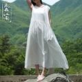 Verano estilo Mori Girlr vestido más tamaño literaria vestido sin mangas larga túnica de lino puro