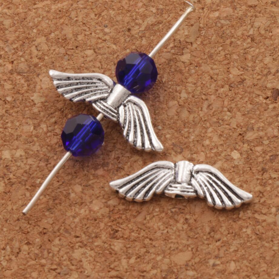 Милая подвеска в форме ангельских крыльев бусинами разделители ювелирные украшения L082 35 шт. 20,7×6,3 мм старинное серебро