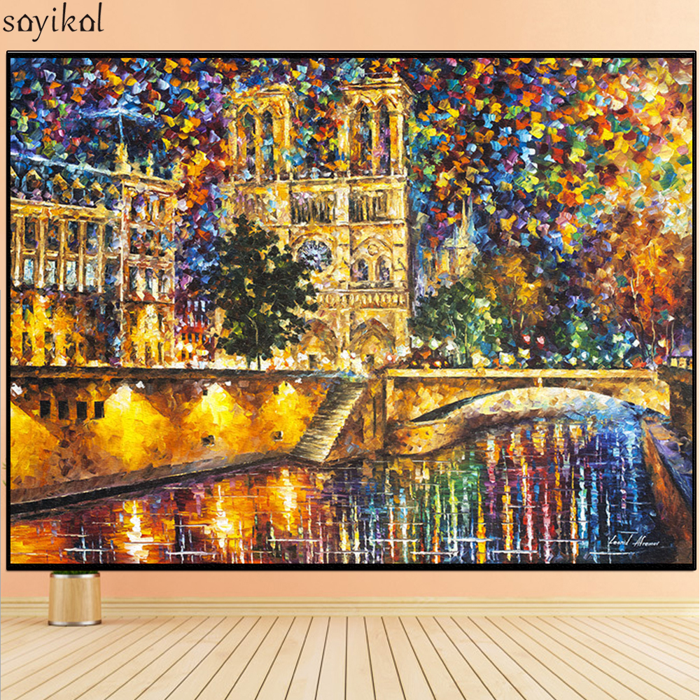 Diy Painting By Numbers Frame Landscape Famous Building