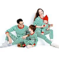 ファミリークリスマスパジャマ服セット大人子供クリスマスグリーンストライプパジャマナイトウェアパジャマセットパジャマ写真プロップXV3