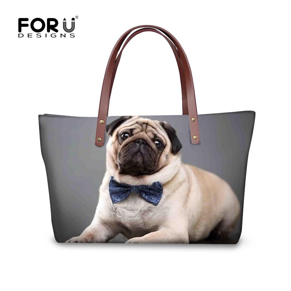 Forudesigns gris 3d pug dog mujeres bolso de mano grande Bolsa de Hombro de las