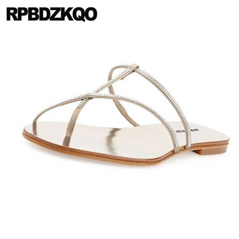 10de7f7b419361 ... Women 2018 Rhinestone Diamond Crystal Wedding Slippers Summer Female  Flat Slides Strappy Toe Ring Sandals Cheap ...