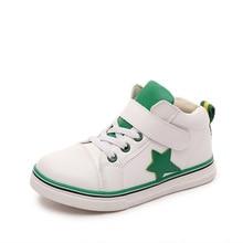 2016 Nouveau Printemps Enfants Chaussures Garçons Filles Baskets Mode Enfants Haute Tops Cuir Étoiles Chaussures Étanche Casual Enfants Chaussures
