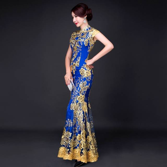 placeholder Blue Fishtail Lace Cheongsam Gold Thread Embroidery Sequins  Long Qipao Chinese Dress Traditional Robe Chinoise Abendkleider 5ba03b7c95a1