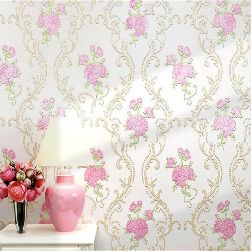 beibehang European-style 4D pressure pastoral non-woven wallpaper living room girl bedroom wedding room warm pink wallpaper beibehang warm pink girl room wallpaper children s room non woven three dimensional love childrens clothing shop wallpaper