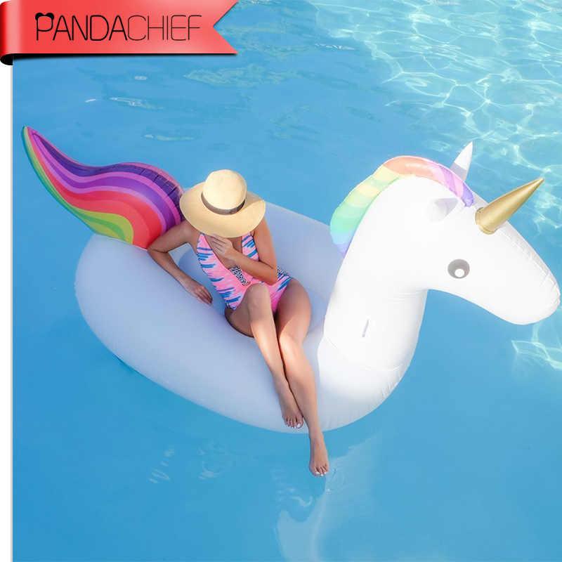 83 дюймов 2,1 м гашеные надувные единороги надувные матрасы воздушный диван ридебль плавательный бассейн игрушка водяная кровать для пляжа праздничное кольцо