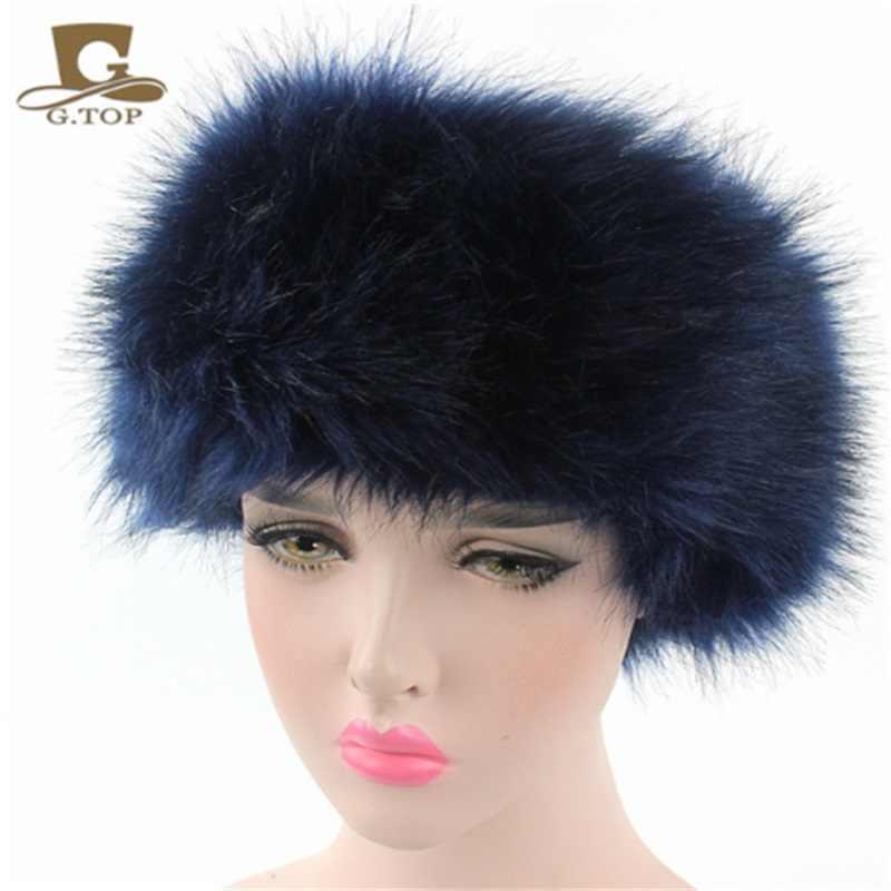 48df3f90bb9 ... Hot sale Faux Fur Warm Headband Head Warmer Women s Winter Ear warmer  Earmuff Turban Hair band