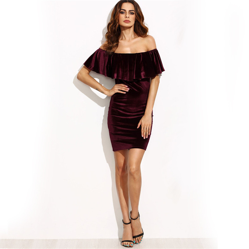 COLROVIE Ruffle Off The Shoulder Velvet Bodycon Dress Sexy Women Short Sleeve Club Wear Mini Dress Burgundy Party Winter Dress 10