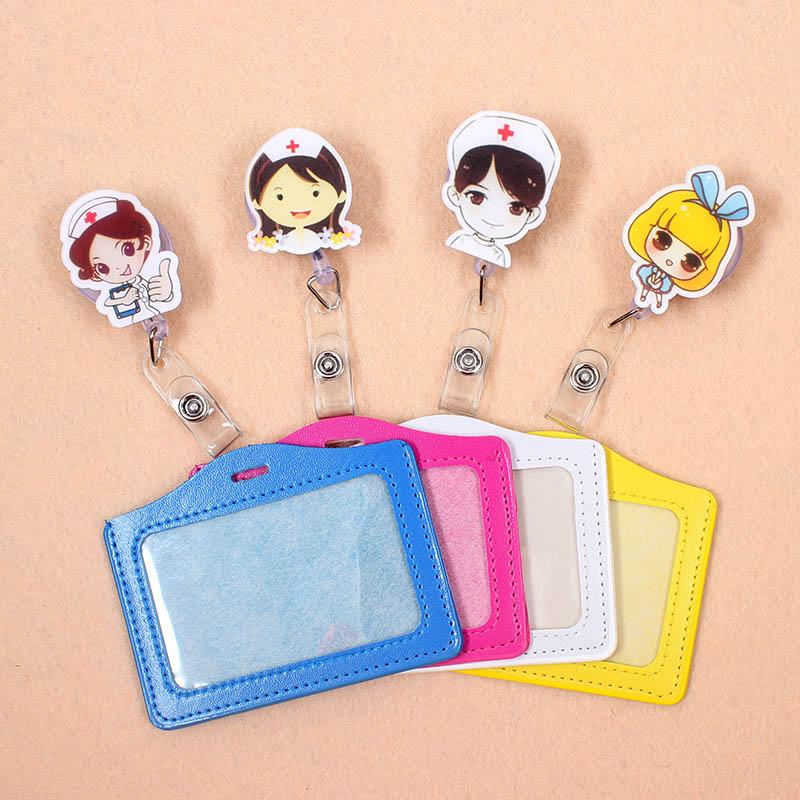 1Pc Cute Nurse Retractable Badge Reel High Quality Student Nurse Exihibiton ID Name Card Badge Holder Office Supplies