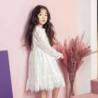 Summer 2018 Midi Dress Floral Girls Elegant White Princess Dress Kids Child Party Lace Dresses Large