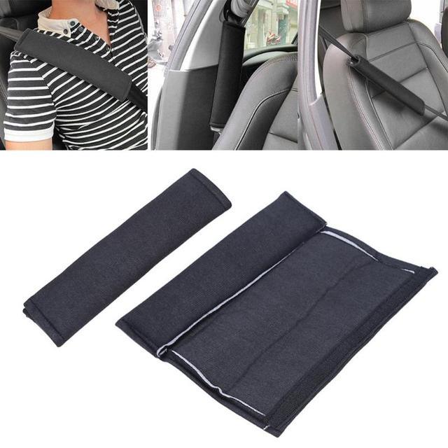 2 шт. автомобилей для укладки безопасности ремень безопасности мягкие подплечники Чехол черный хлопок подушка накладка на ремень протектор для взрослых
