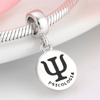 Symbool Psychologie hangers kralen 925 Sterling Zilveren Bedels Voor sieraden maken Fit Originele Pandora Charm Armbanden psicologia