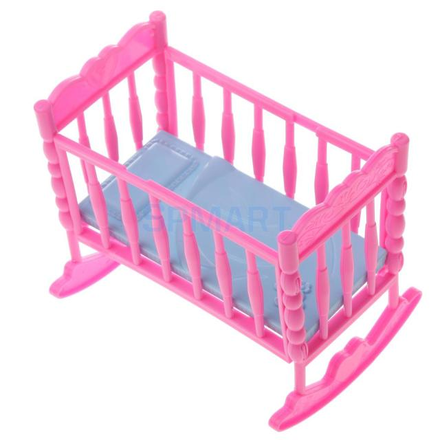 Nice Dolls Cradle Bed Bedroom Furniture Nursery Room Acces For Dolls House  Miniature Decor Pink