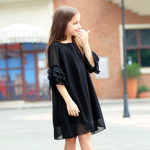 Image 2 - נער בנות קיץ שמלת 2020 ילדה קטנה שיפון dressees שחור ילדים בגדי vestido גודל 45 6 7 8 9 10 11 12 13 14 15 שנים