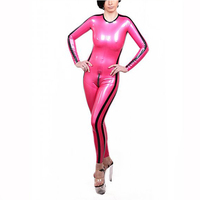 Sexy Latex Tights Catsuit Contrast Color O neck Latex Rubber Party Wear Bodysuit