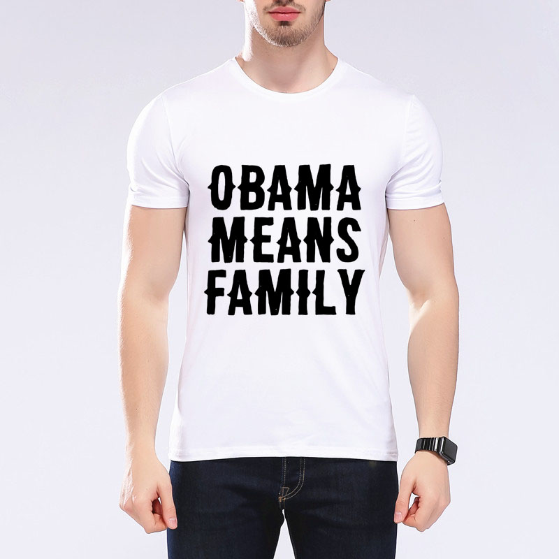 Moda carta impressão obama significa família homem/mulher camiseta roupas de marca verão confortável menino/juventude camiseta roupas E5-3 #