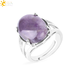 CSJA Women Ring Natural Stone Pink Quartz Purple Crystal Opening Rings Opal Oval Bead Adjustable Size Party Fashion Jewelry F551(China)