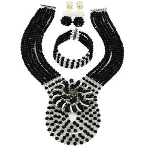 Black and Transparent Crystal Beaded Necklace African Wedding Beads Bridal Party Jewelry Sets 6C-XJZ006