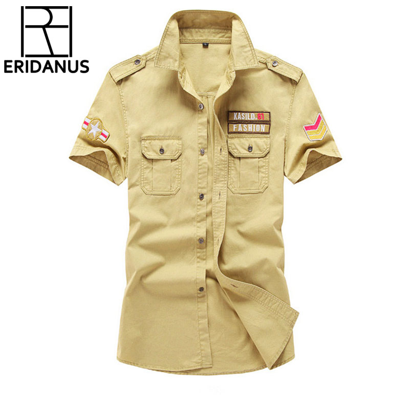 f33dbd58d3 Military Style Mens Shirts 2019 Army Short Sleeve Shirts 100 Cotton Slim Camisa  Masculina Imported-china 6xl Plus Size Male Tops