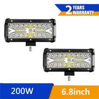 2pcs 200W 12v IP67 Waterproof Car LED Work Light Bar Spot Flood Beams Combo Back Up Light For Off road SUV Truck Lighting Tool