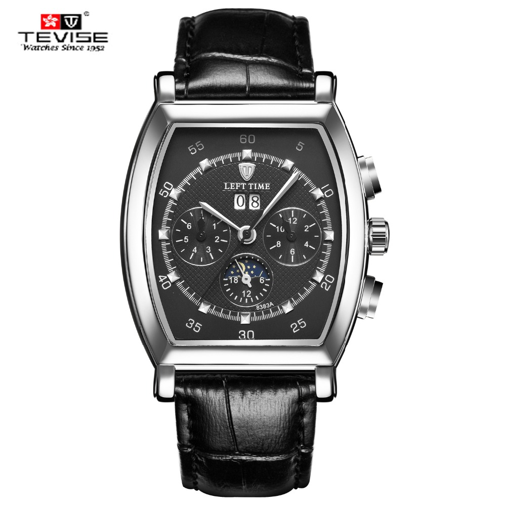 TEVISE Brand High Quality Moon phase Automatic Mechanical Watches Men Self Wind Business Genuine Leather Calendar Wristwatches