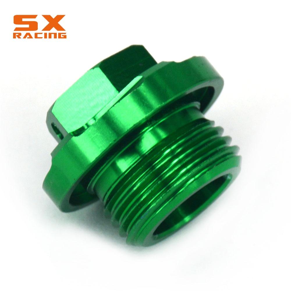 JFG RACING CNC Engine Oil Filter Plugs Bolts For Kawasaki KX250 05-08 KX250F 04-16 KX450F 06-16 KLX450R 08-15 KFX450R ATV 08-09 Green