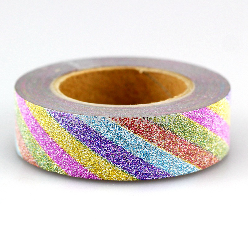 1PC 15mm*10m Unicorn Rainbow Stripes Glitter Tape Decor Washi Tape Paper Scrapbooking Adhesive Tapes For Photo Album Stationery